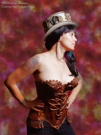 steampunk medusa corset organic armor
