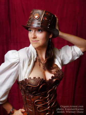 steampunk medusa snakes corset top hat organic armor